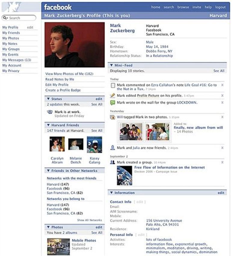 Marks Facebookprofil 06/07