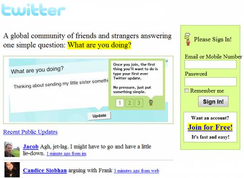 Twitter anno 2006/07